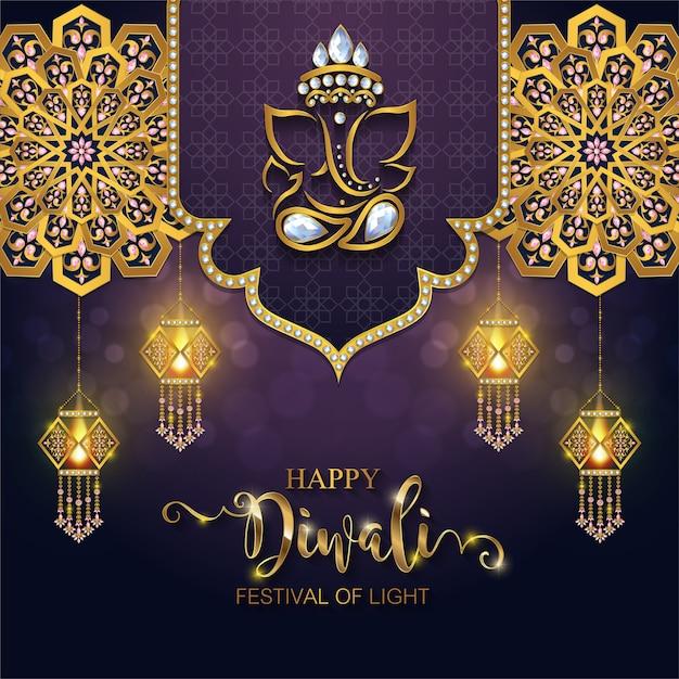 Happy diwali festival card. Vettore Premium
