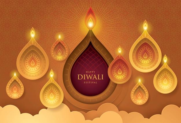 Happy diwali festival con lampada ad olio, arte di carta Vettore Premium