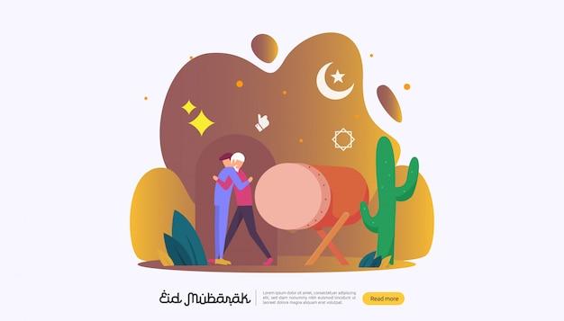 Happy eid mubarak con personaggi di persone per la pagina di destinazione del web Vettore Premium