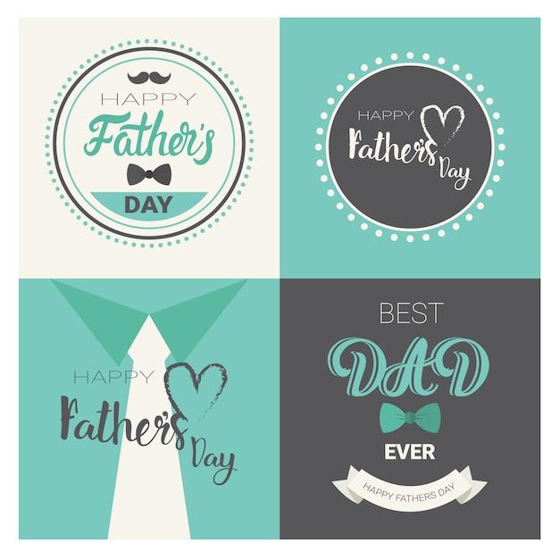 Happy family day family day, retro raccolta di cartolina d'auguri Vettore Premium