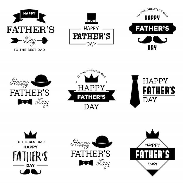 Happy father's day logo Vettore Premium