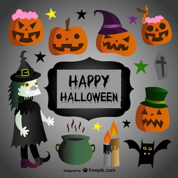 Happy halloween cartoni animati scaricare vettori gratis