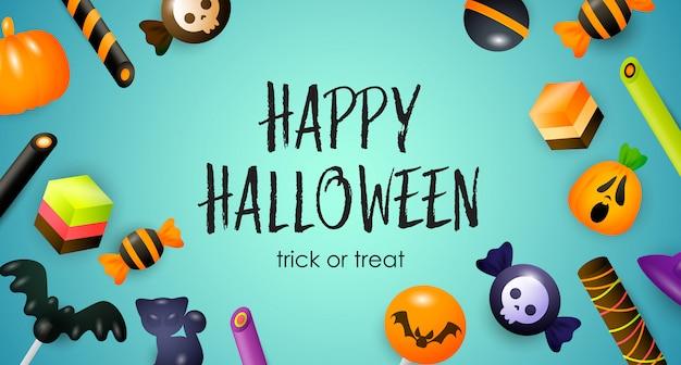 Happy halloween, dolcetto o scherzetto scritte, caramelle e dolci Vettore gratuito