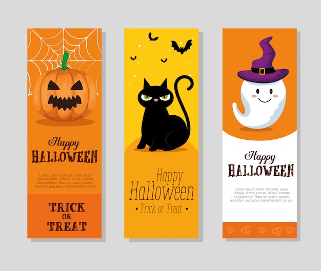 Happy halloween set di carte o set di banner Vettore gratuito