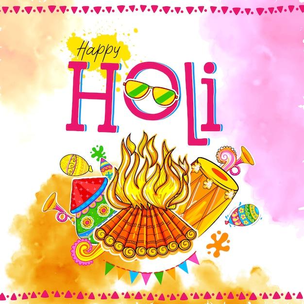 Happy hoil background per festival di colori in india. Vettore Premium