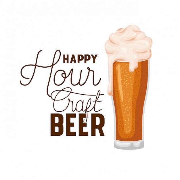 Happy hour birra artigianale etichetta in vetro Vettore Premium