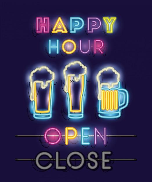 Happy hour con birre barattoli font luci al neon Vettore Premium