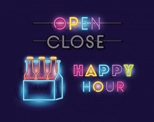 Happy hour con birre bottiglie nel carrello font luci al neon Vettore Premium