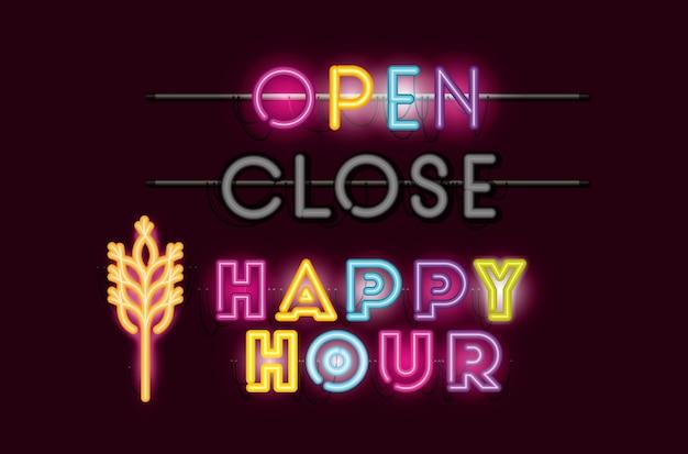 Happy hour con luci al neon con caratteri spike Vettore Premium