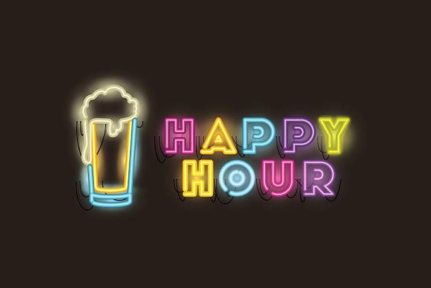 Happy hour con luci al neon font barattolo di birra Vettore Premium