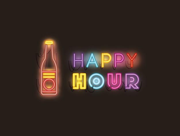 Happy hour con luci al neon font birra bottiglia Vettore Premium