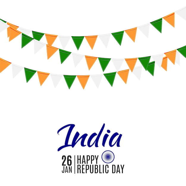 Happy india republic day26 gennaio. Vettore Premium