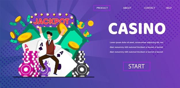 Happy lucky man winner hit jackpot al casinò Vettore Premium