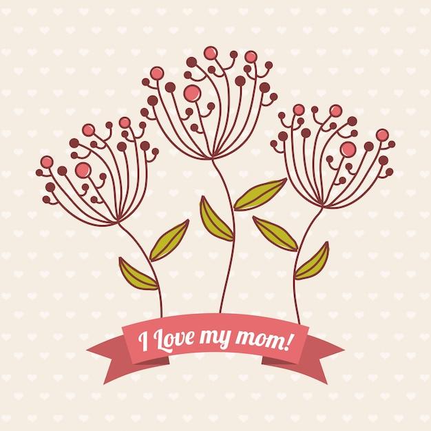 Happy mothers day card illustrazione vettoriale Vettore Premium