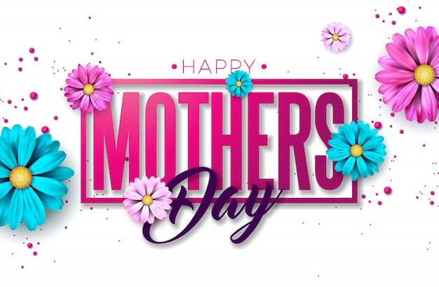 Happy mothers day greeting card design con fiori e tipografia lettera su sfondo rosa. Vettore gratuito