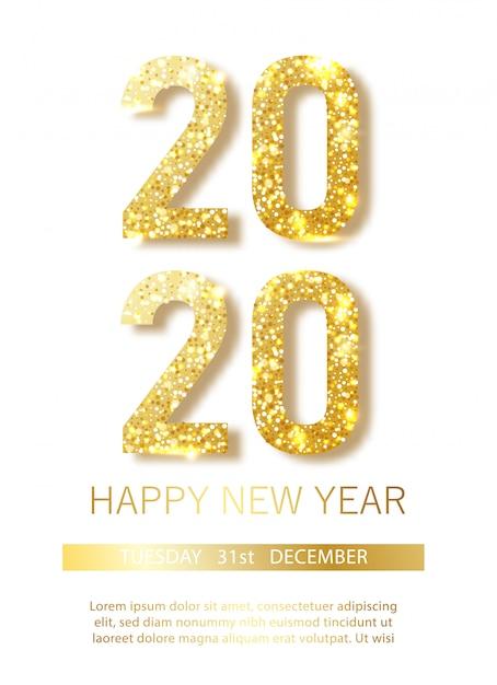 Happy new 2020 year.vector illustrazione di numeri metallici dorati 2020 Vettore Premium