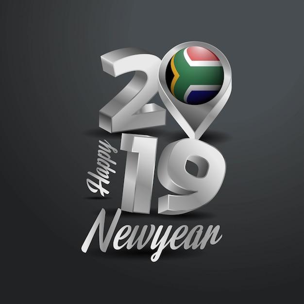 Happy new year 2019 gray typography Vettore Premium