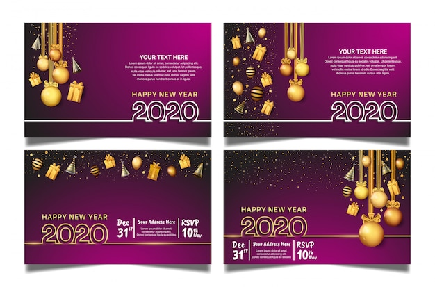 Happy new year 2020 wallpaper impostato con sfondo viola Vettore Premium