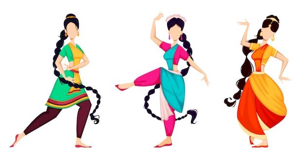Happy onam. donne indiane che ballano Vettore Premium