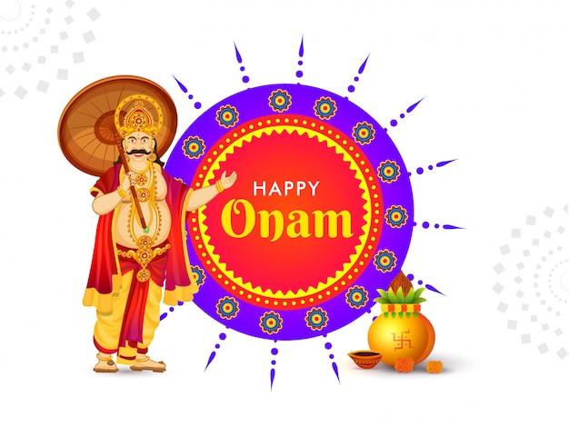 Happy onam festival card o poster design Vettore Premium