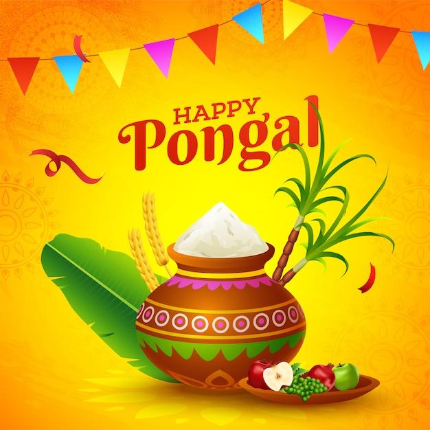 Happy pongal card Vettore Premium
