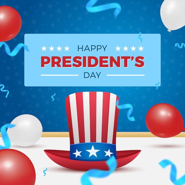 Happy president's day card con cappello di zio sam e mongolfiere per la celebrazione della festa degli americani. Vettore Premium