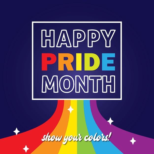Happy pride day mostra i tuoi colori lgbt pride Vettore Premium