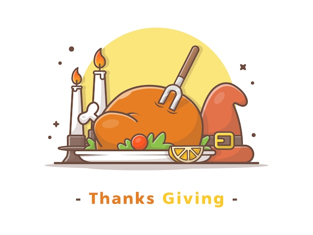Happy thanks giving day vector illustration Vettore Premium