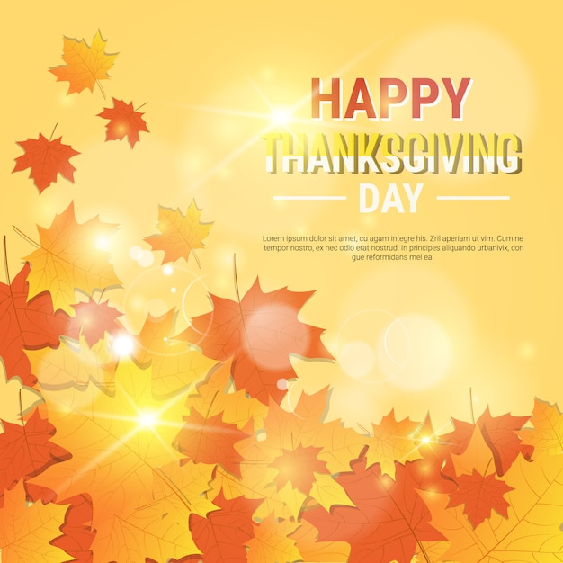 Happy thanksgiving day autumn traditional greeting card Vettore Premium