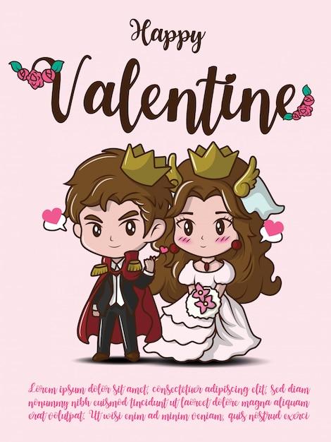 Happy valentine card Vettore Premium