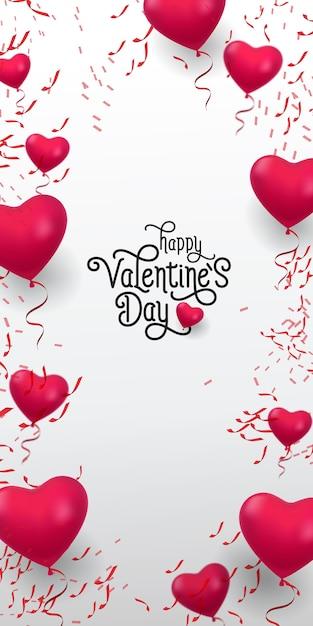 Happy valentine day lettering. iscrizione con palloncini rossi Vettore gratuito