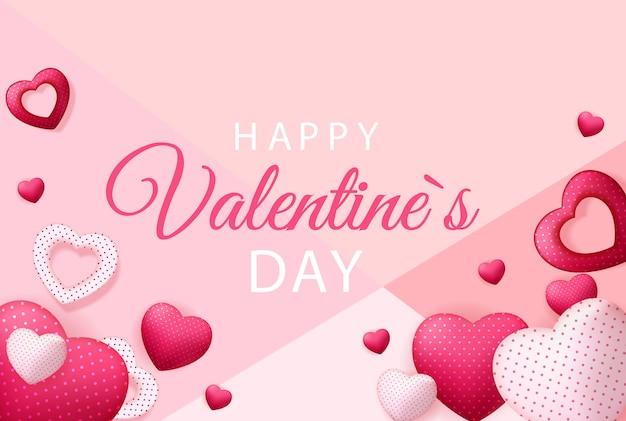 Happy valentines day card con il cuore. Vettore Premium