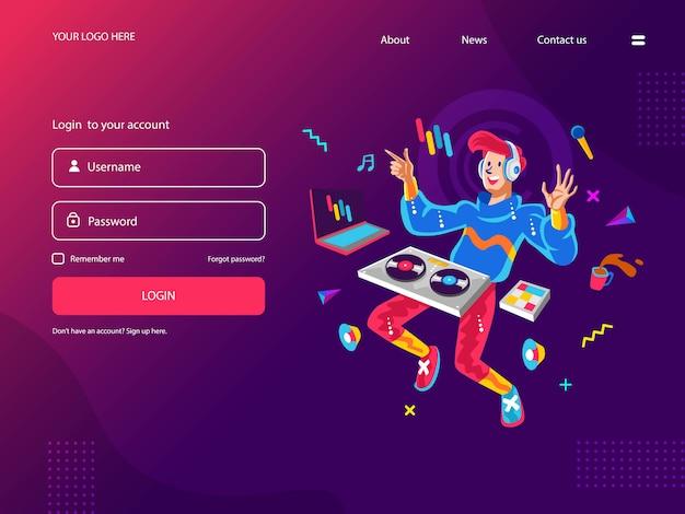Happy young dj riproduzione di musica digitale Vettore Premium