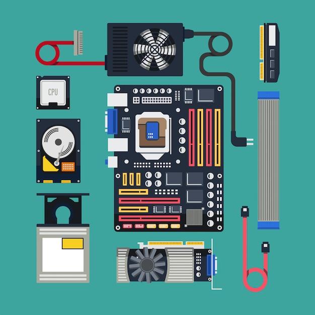 Hardware in design piatto Vettore Premium