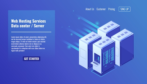 Hardware per computer, rack per sala server, hosting di siti web, data center di database Vettore gratuito
