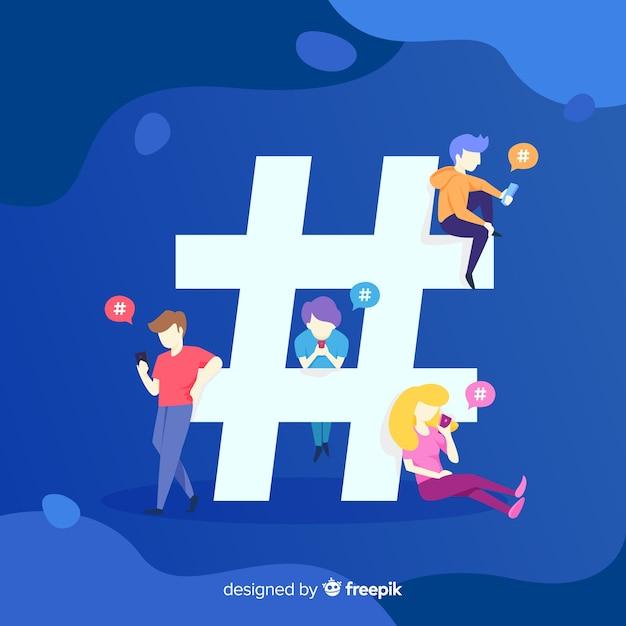 Hashtag di twitter. adolescenti sui social media. design del personaggio. Vettore gratuito