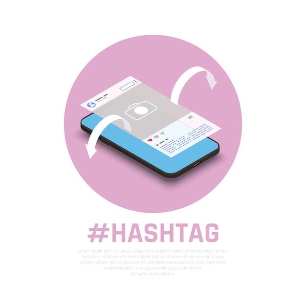 Hashtag per promuovere con successo prodotti messaggi argomenti sulla composizione isometrica dei social media con lo smartphone marketing Vettore gratuito