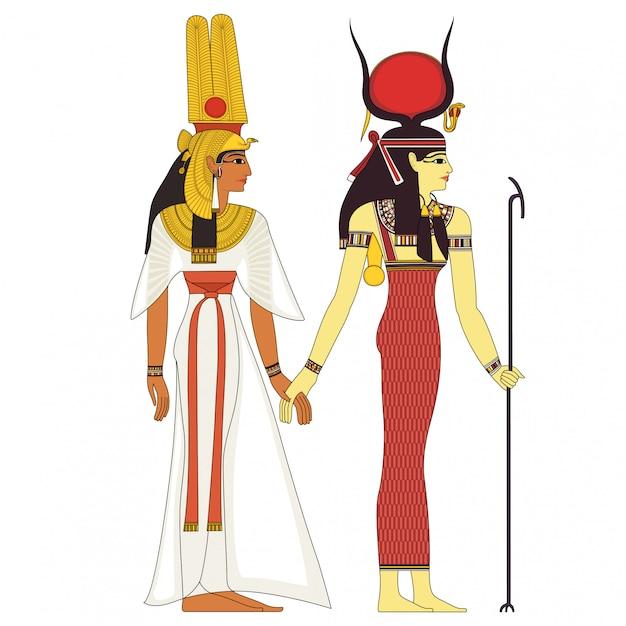 Hathor, egiziano antico simbolo, figura isolata di antiche divinità egitto Vettore Premium