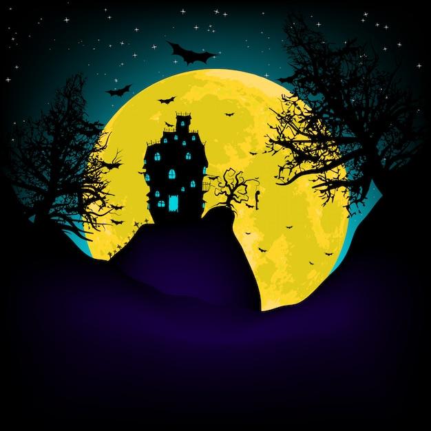Haunted house su una collina del cimitero di notte con la luna piena. file vettoriale incluso Vettore Premium