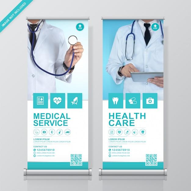 Healthcare e medical rollup e modello di progettazione standee Vettore Premium