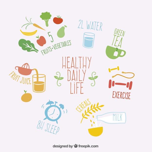 Healthy vita quotidiana Vettore gratuito
