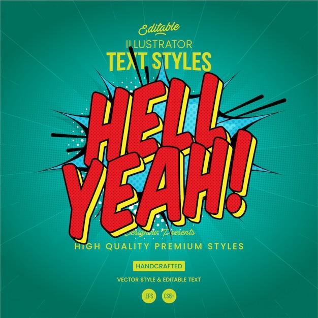 Hell yeah comics text style Vettore Premium