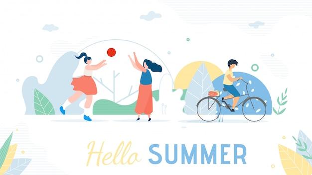 Hello summer greeting banner. cartoon resting people Vettore Premium
