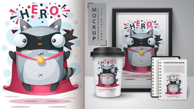 Hero procione e merchandising Vettore Premium