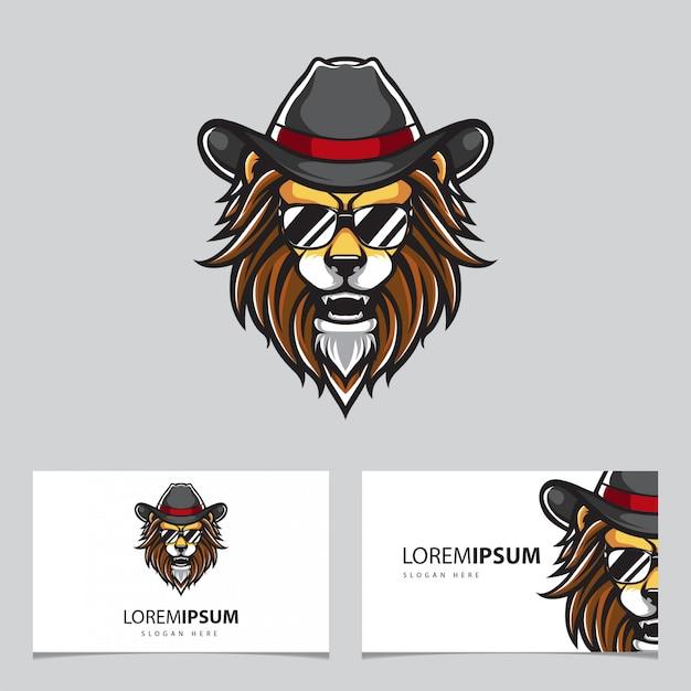 Hipster leone mascotte e biglietti da visita Vettore Premium
