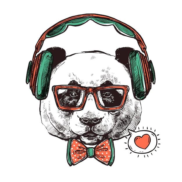 Hipster portrait animals Vettore gratuito