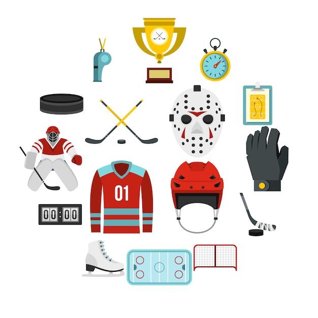 Hockey set icone piatte Vettore Premium