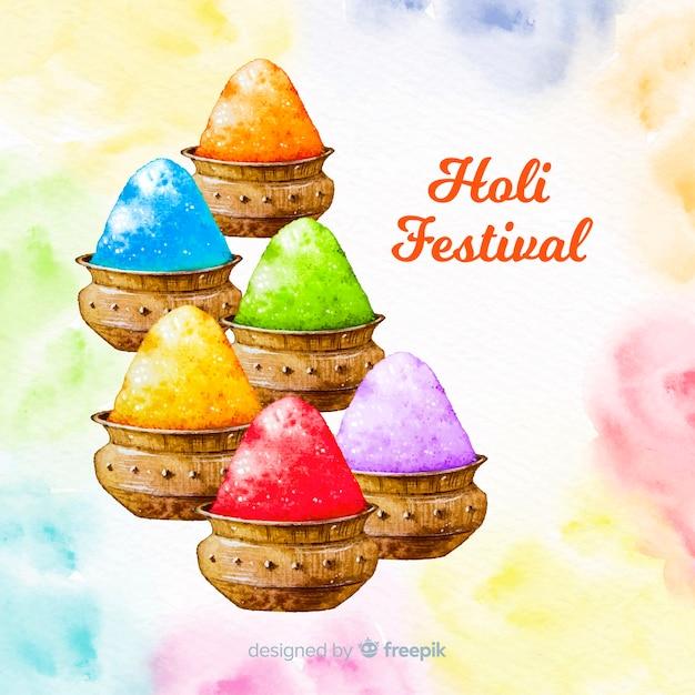 Holi colorato sfondo gulal Vettore gratuito