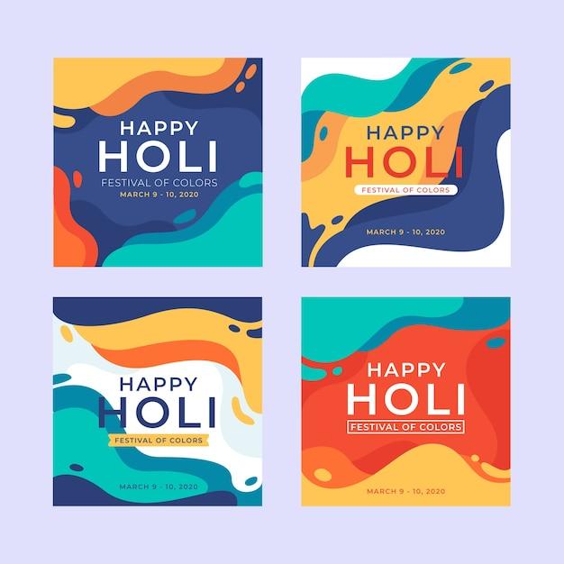 Holi festival instagram post collection Vettore gratuito