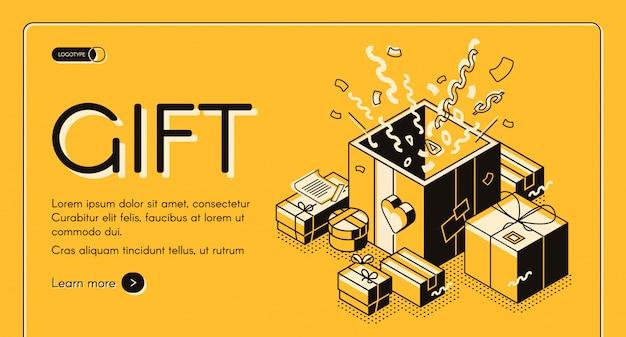 Holiday gift wrapping and packing service banner web isometrico, pagina di destinazione. Vettore gratuito